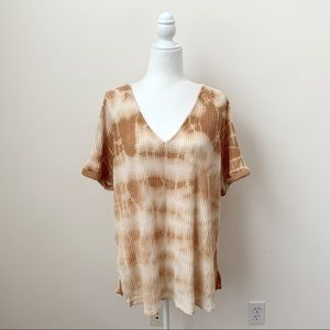 By Together Cream and Orange Tie Dye Thermal Top